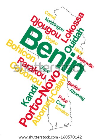 Benin map and words cloud with larger cities - stock vector