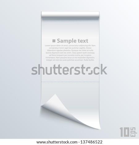 Bent piece of paper notebook - stock vector
