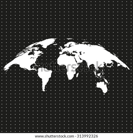 bent, twisted, world map on a black background with white dots - stock vector