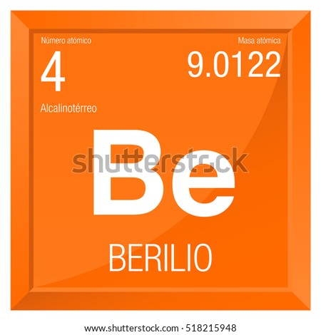 Berilio Symbol   Beryllium In Spanish Language   Element Number 4 Of The Periodic  Table Of