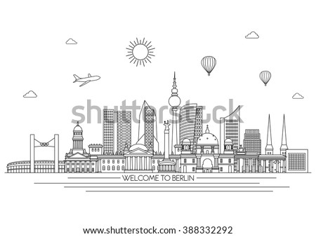 Berlin detailed Skyline. Travel and tourism background. Vector background. line illustration. Line art style - stock vector