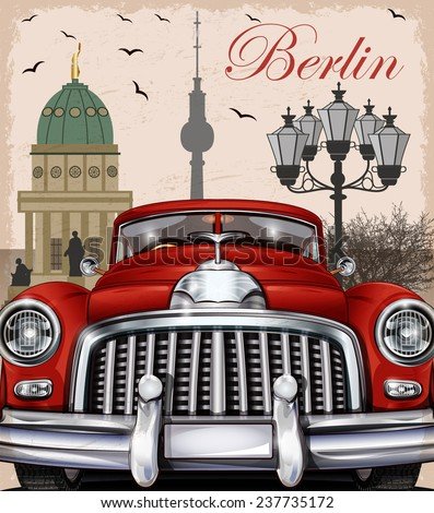 Berlin retro poster. - stock vector