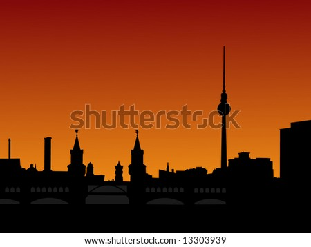 Berlin skyline at sunset with tv tower and Oberbaum Bridge