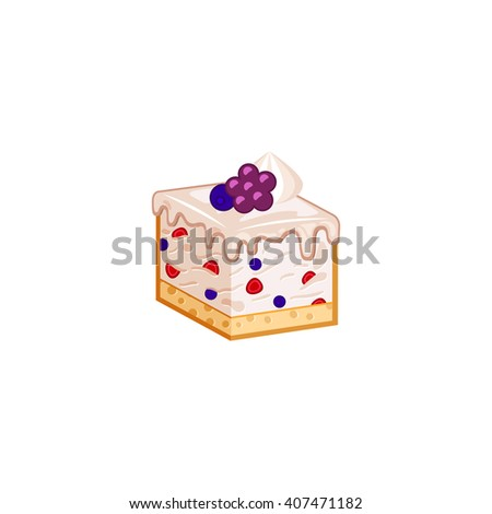 Berries cake isolated on white background. Vector illustration for tasty slices bakery shop. Diet mousse pastry.  - stock vector