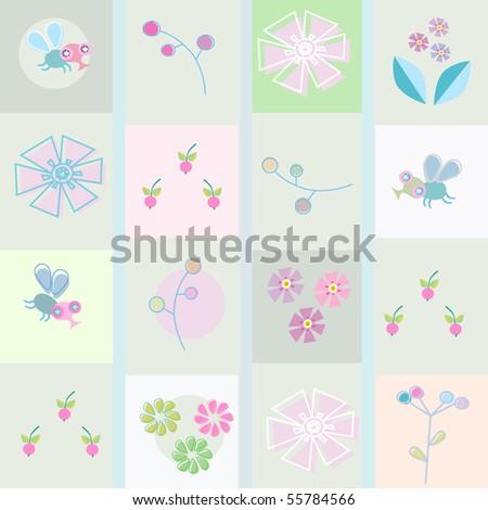 berries, flowers, bees - stock vector