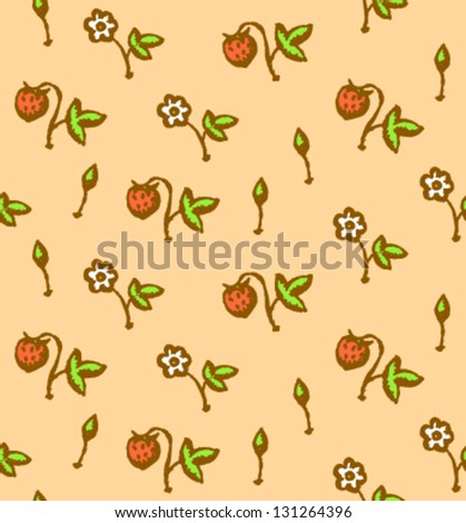 Berry and flower, vector seamless pattern - stock vector