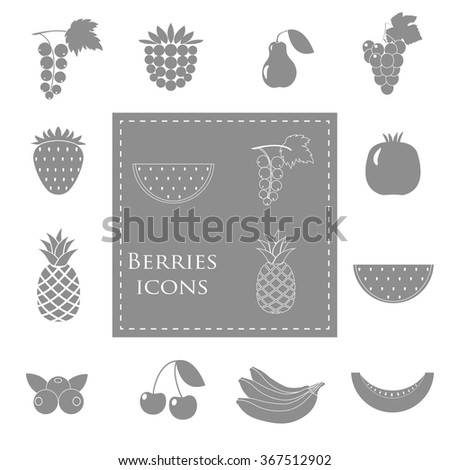 Berry grey fruits collection - strawberries, blueberries, watermelon, pineapple, red currant. Vector illustration EPS10