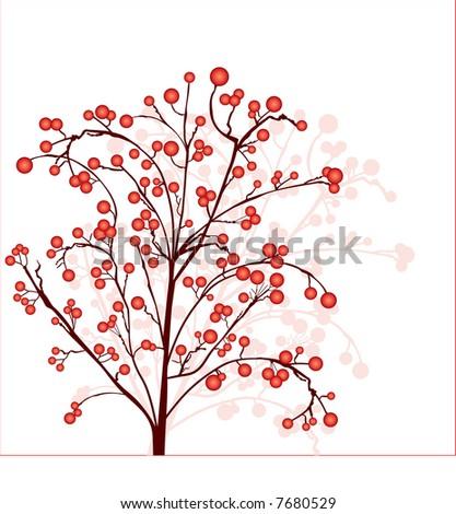 berry tree - stock vector