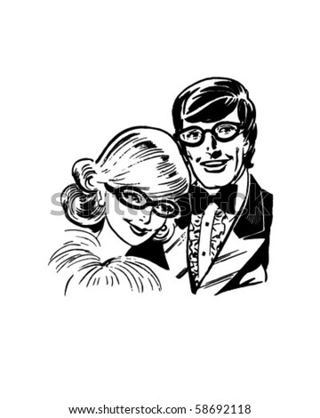 Bespeckled Teen Couple - Retro Clip Art