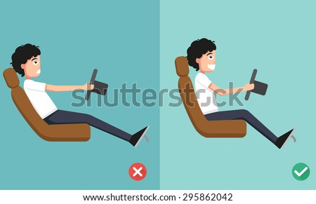 Best and worst positions for driving a car, illustration, vector - stock vector