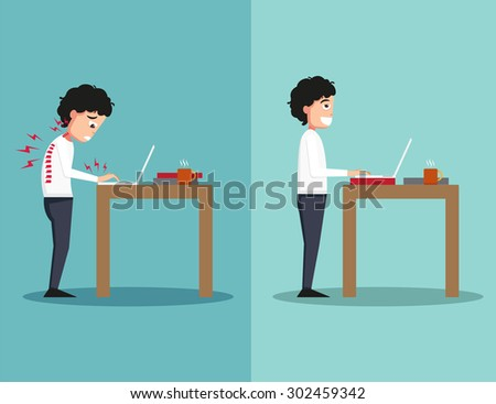 Best and worst positions for standing use laptop, illustration,vector - stock vector