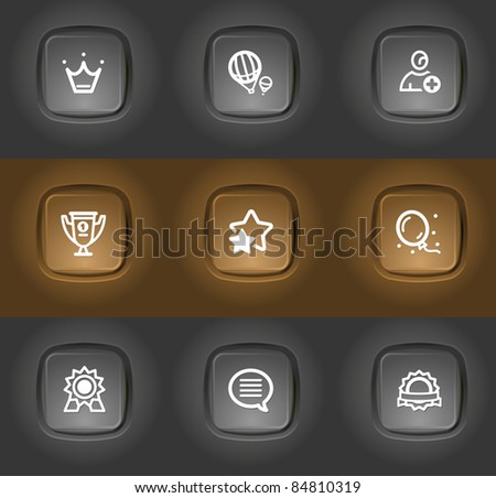 best award, rating icons pictogram on plastic buttons - stock vector