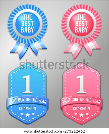 Best baby boy and girl symbol - stock vector