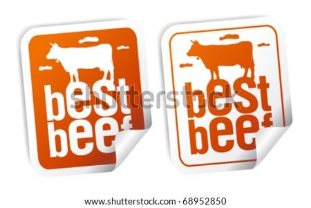 Best beef for steak stickers set - stock vector