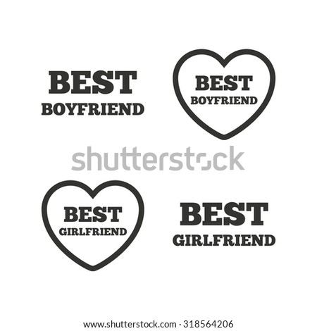 Best boyfriend and girlfriend icons. Heart love signs. Award symbol. Flat icons on white. Vector - stock vector