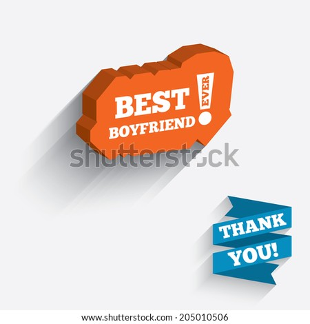 Best boyfriend ever sign icon. Award symbol. Exclamation mark. White icon on orange 3D piece of wall. Carved in stone with long flat shadow. Vector