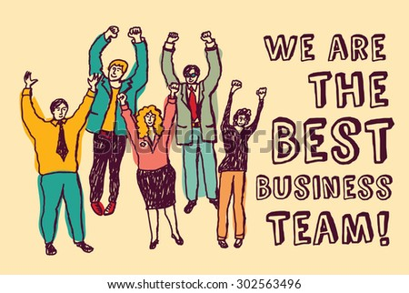 Best business team happy workers color. Group happy business team. Color vector illustration. EPS 8.  - stock vector