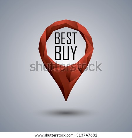 Best buy low poly icon. Polygonal location pin with promotional text. Sale advertising banner template. Eps10 vector illustration. - stock vector