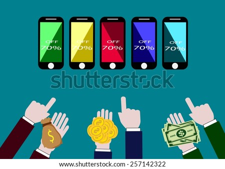 Best Buy On smart phone Showing Excellent Sale Or Premium Product, money in hand pre pare foe exchange. - stock vector