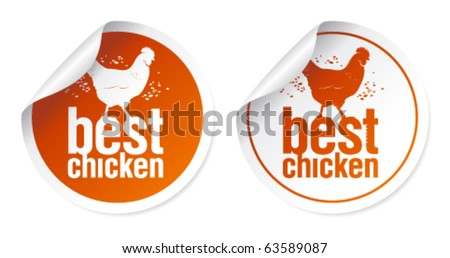 Best chicken meat stickers set - stock vector