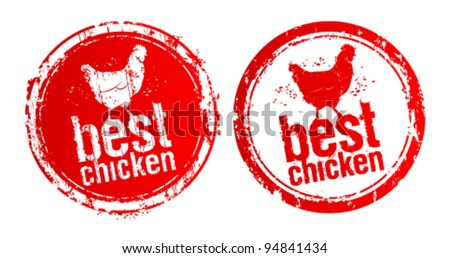 Best chicken vector stamps. - stock vector