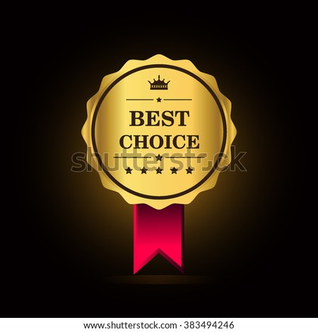 Best choice golden label, vector illustration