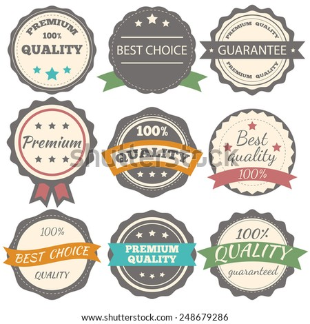 Best choice, guarantee and premium quality vector vintage badges. Vector illustration - stock vector