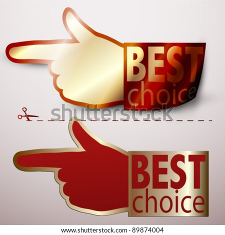 Best choice hand, as as label - stock vector