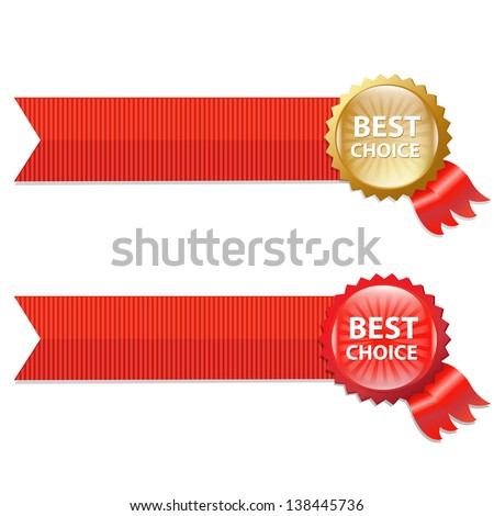 Best Choice Labels With Ribbons With Gradient Mesh, Vector Illustration - stock vector