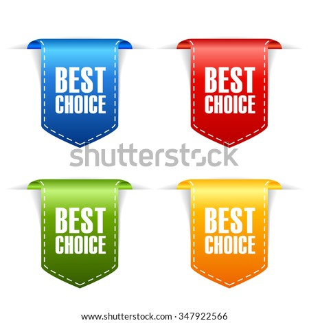 Best choice ribbons set vector illustration isolated on white background - stock vector
