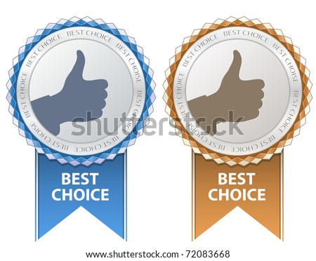 Best Choice Sign. Thumb Up Gesture. - stock vector