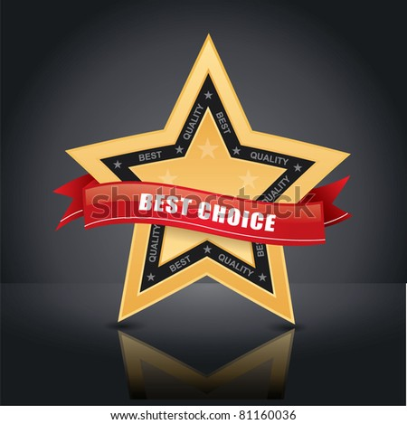 Best choice, vector gold star emblem with red label on it on studio background - stock vector