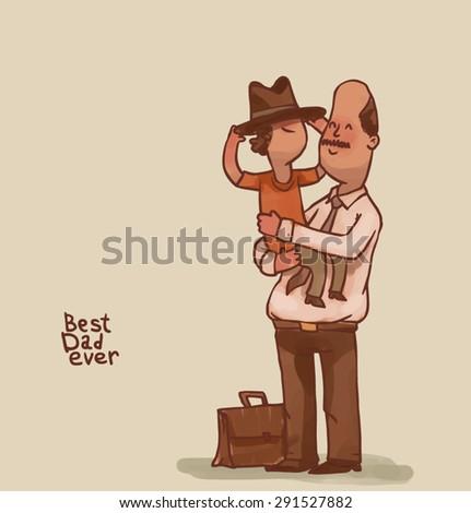 Best Dad ever, vector - stock vector
