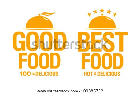 Best delicious food, vector signs.