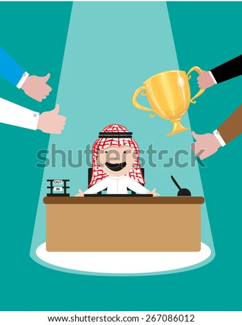 Best Employee or Employee of the Month for an Arab Company. Arab Cartoon smiles for the awards and accolades he received. Editable EPS10 vector and jpg illustration. - stock vector