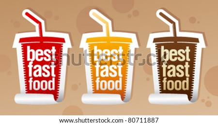 Best fast food stickers in form of take away cup. - stock vector