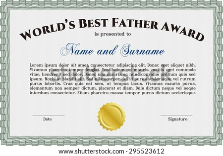 Worlds best father award template stock vector 279487007 shutterstock best father award template border frameplex background excellent design yadclub Gallery