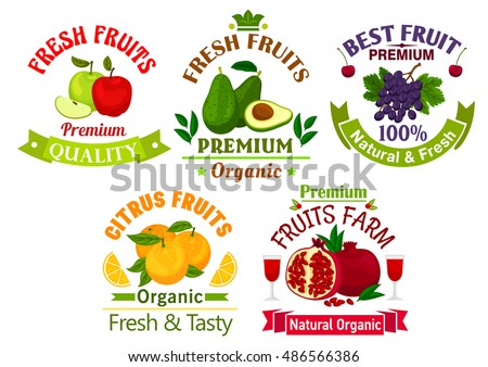 Best fresh juicy fruits. Vector icons of apple, avocado, grape, cherry, orange, pomegranate for juice bottle sticker, grocery, farm store label, packaging and advertising tag, ribbons