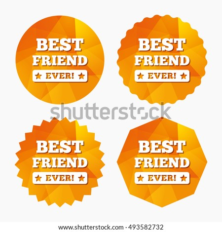 Best friend ever sign icon. Award symbol. Exclamation mark. Triangular low poly buttons with flat icon. Vector