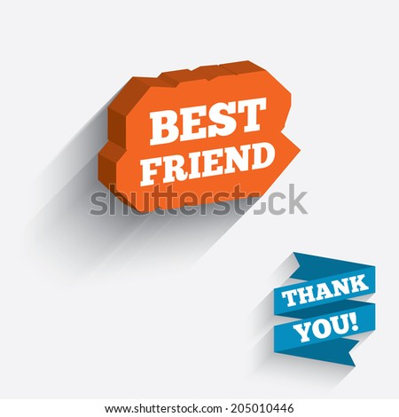 Best friend sign icon. Award symbol. White icon on orange 3D piece of wall. Carved in stone with long flat shadow. Vector
