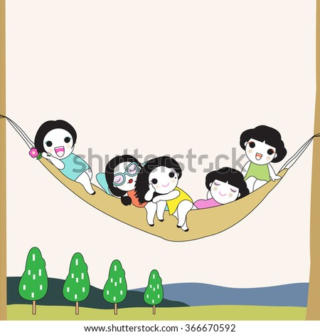 Best Friends Always Stick Together Card Character illustration - stock vector