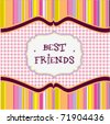 best friends card - stock vector