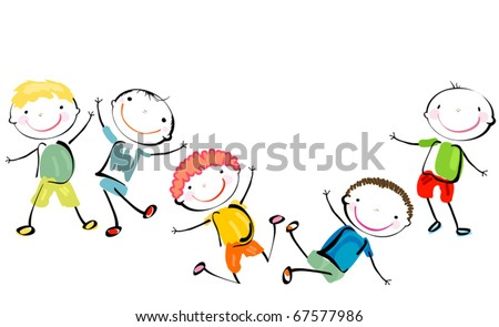 best friends; happy boys playing - stock vector