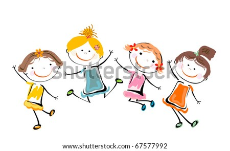 best friends; happy girls playing - stock vector