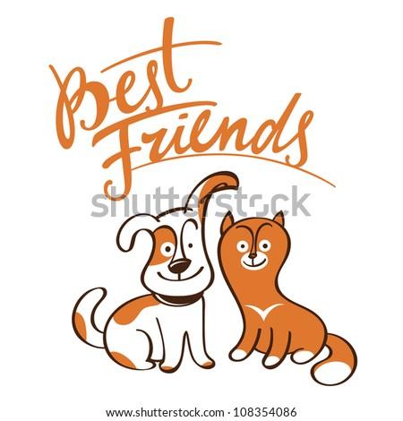 Best Friends little pets animals dog cat puppy kitten - stock vector
