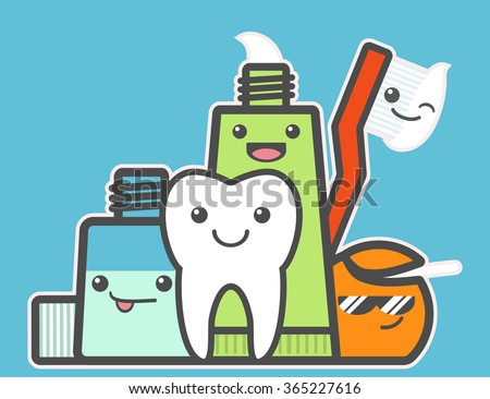 Best friends of healthy tooth. Hygiene concept. Toothcare things. Toothpaste, floss, mouthwash, toothbrush, tooth. Funny vector illustration. - stock vector