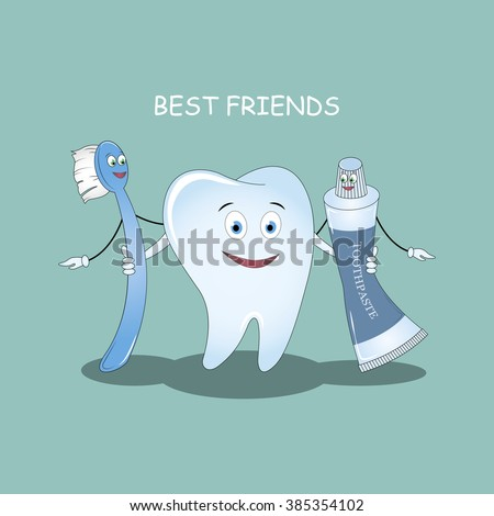 Best Friends teeth. Vector illustration.  Illustration for children dentistry and orthodontics. Image toothbrush, tooth paste and tooth. - stock vector