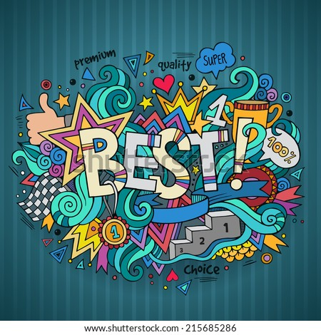 Best hand lettering and doodles elements background. Vector illustration