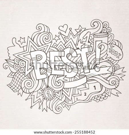 Best hand lettering and doodles elements background. Vector illustration - stock vector