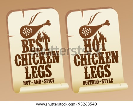 Best hot chicken legs stickers. - stock vector